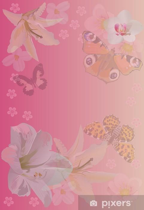 Carta Da Parati Sfondo Rosa Con Farfalle E Fiori Pixers Viviamo