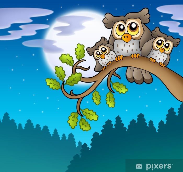 Pixerstick Sticker Leuke uilen op tak in de nacht - Thema's