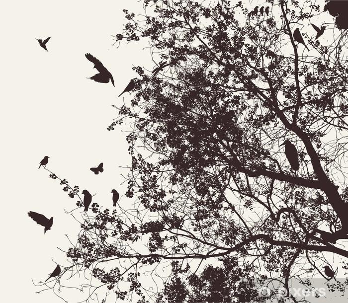 Afwasbaar Fotobehang Boom en vogel - Thema's