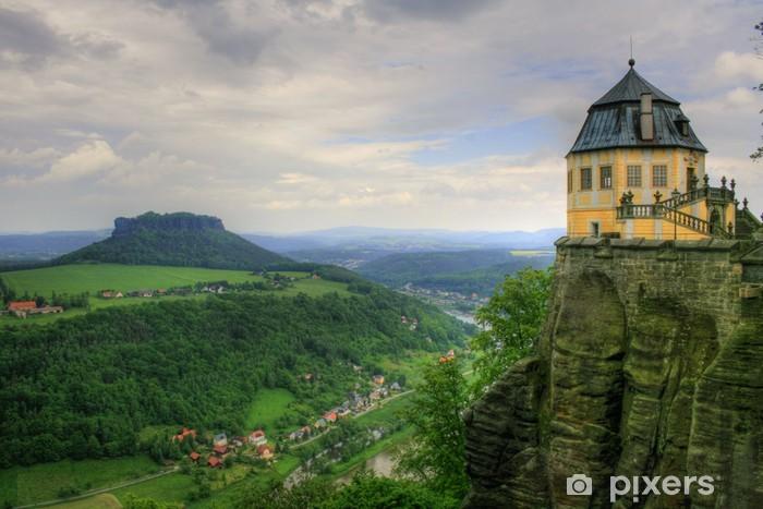 Papier peint vinyle Elbsandsteingebirge - forteresse de Königstein - Sports d'extérieur