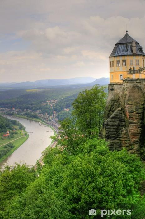 Naklejka Pixerstick Elbe Sandstone Mountains - Twierdza Königstein - Sporty na świeżym powietrzu