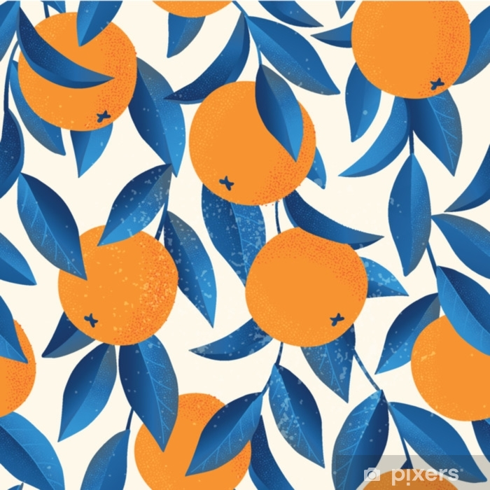 Tropical seamless pattern with oranges. Fruit repeated background. Vector bright print for fabric or wallpaper. Laptop Sticker - Graphic Resources