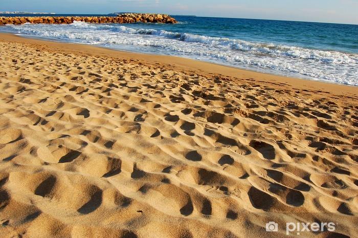 Papier peint vinyle Fin sable plage - Eau