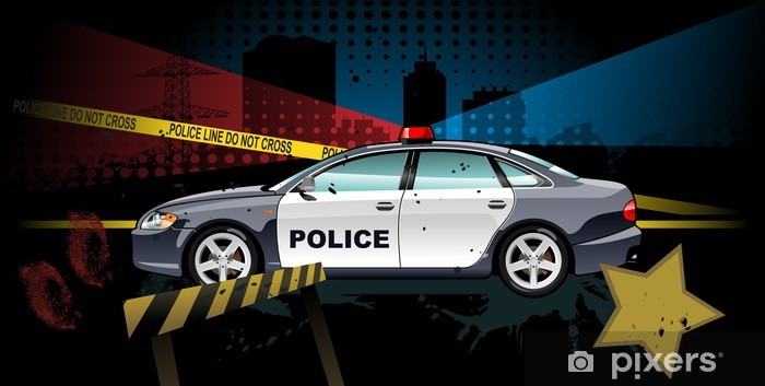 police car - vector illustration Vinyl Wall Mural - On the Road