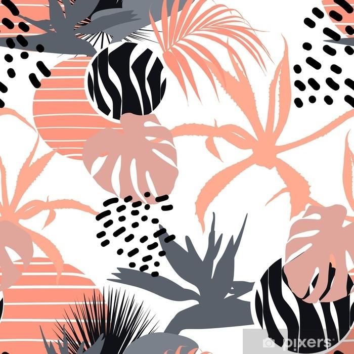 Fotomural Estándar Fondo floral universal creativo en estilo tropical. texturas dibujadas a mano. Hojas tropicales y flores en colores naranja, gris y negro. - Recursos gráficos