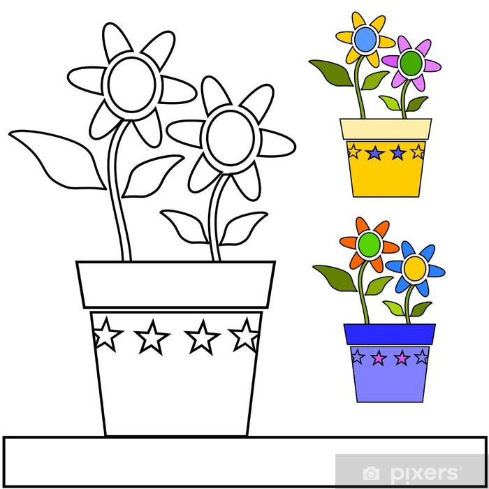 Naklejka Pixerstick Wazon z kwiatami w kolorze - Rośliny