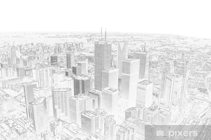 Vinyl Fotobehang Potloodtekening van een toronto skyline van de stad - Stijlen