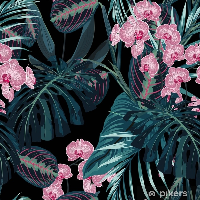 Seamless pattern, dark green colors palm leaves and tropical pink orchid flowers on black background. Vintage style. Throw Pillow - Plants and Flowers