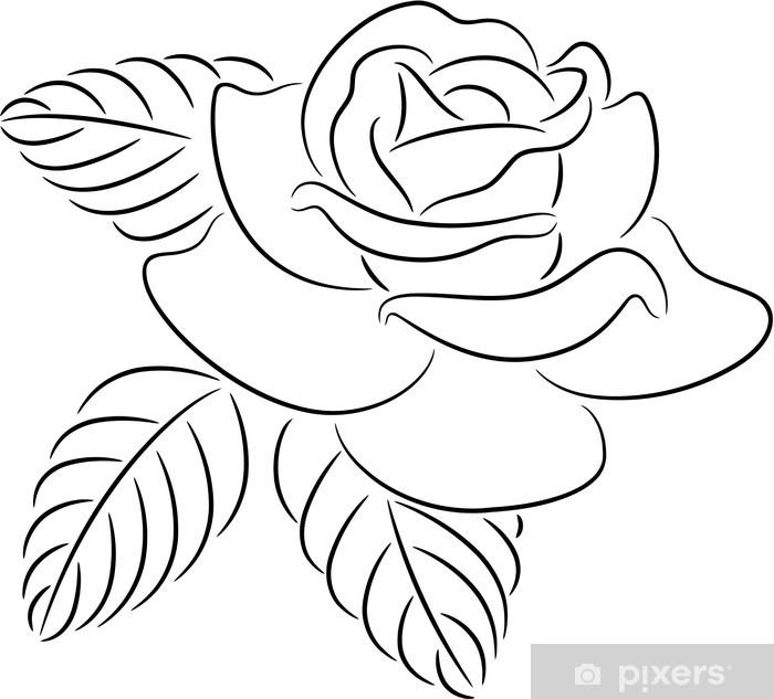 Plakat Rose kontur - Kwiaty