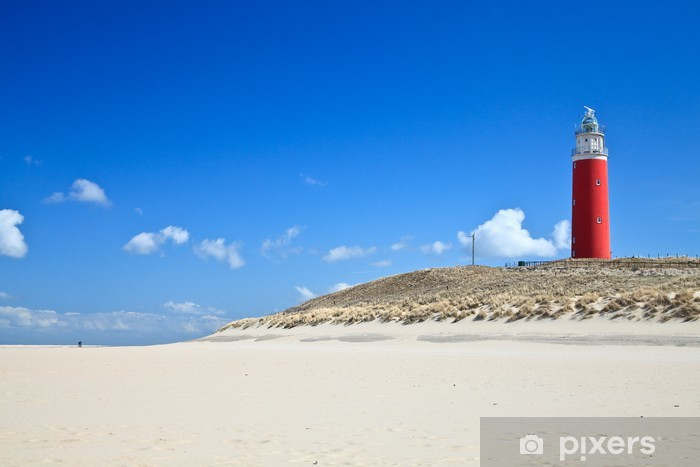 Vinil Duvar Resmi Plajda tepeleri Lighthouse - Deniz feneri
