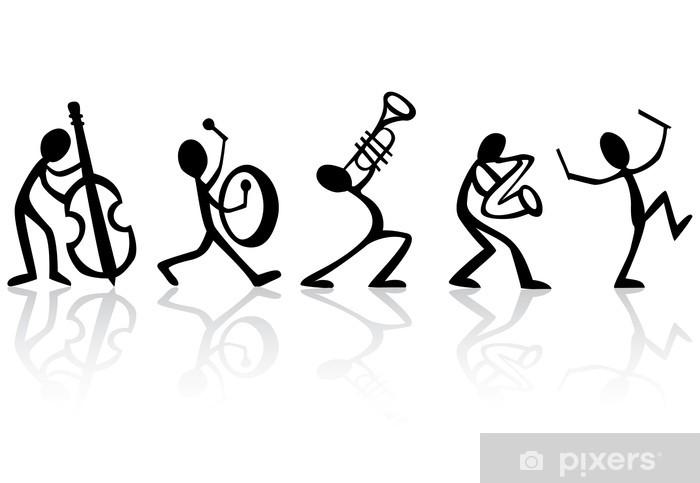 Sticker Pixerstick Band musiciens jouant de la musique, idéal vecteur de t-shirts - Jazz