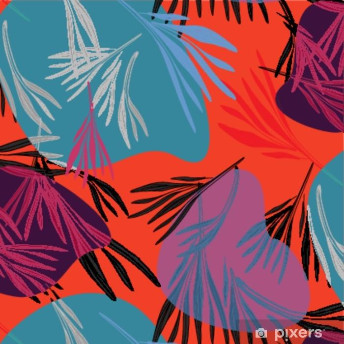 Tropikal Renkli Palmiye Yapragi Arka Plan Aydinlik Yaz Cicek