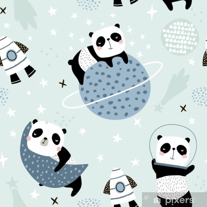 Carta Da Parati Bambini Texture.Carta Da Parati Modello Infantile Senza Cuciture Con Panda Che Si