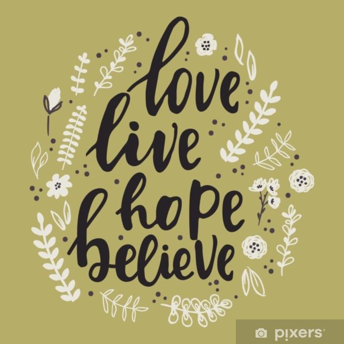 Mural De Parede Em Vinil Mão Escrita Letras Motivacionais Mão Desenhada Letras Palavras Amor Viver Esperança Acreditar