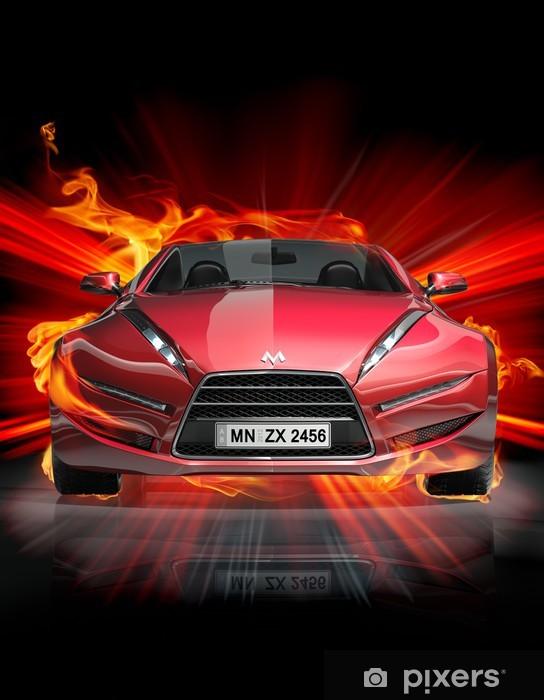 Vinil Duvar Resmi Yangın araba -