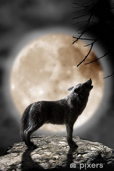 lobo aullando a la luna Washable Wall Mural - Wolves