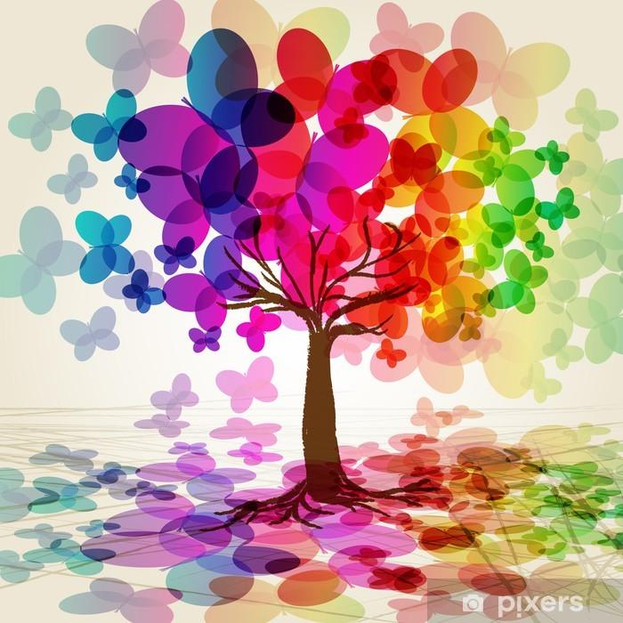 Plakat Abstrakcyjne kolorowe drzewa. wektorowych. - Style