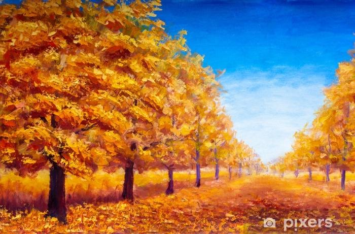 Rideau Occultant Peinture A L Huile Paysage Paysage Automne Arbres D Automne Parc Automne Sur Un Fond Bleu Automne Pixers Nous Vivons Pour Changer