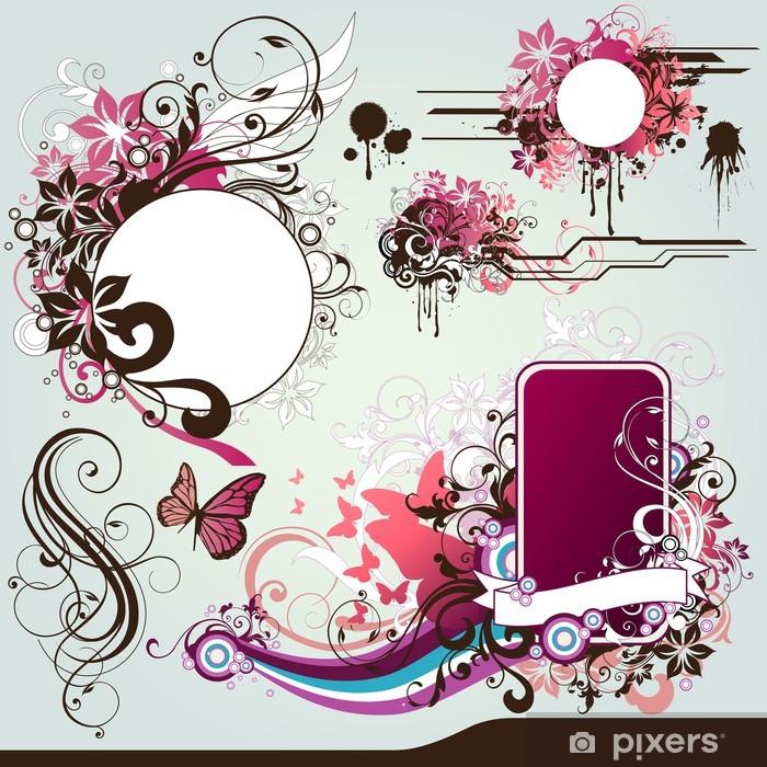 Sticker Pixerstick Floral frames - Fleurs