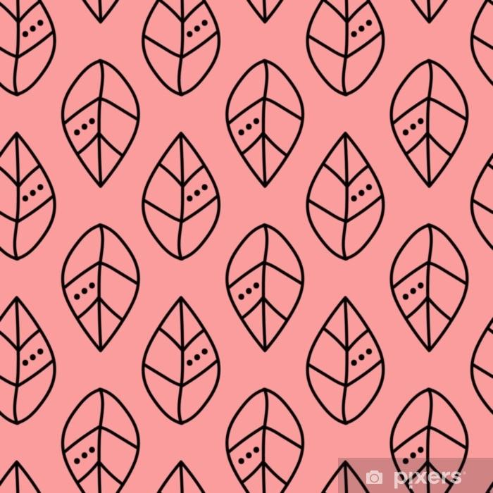 Naklejka Pixerstick Bezszwowe wektor zarys wzór liści na różowym tle. projekt tapety, tkaniny, tkaniny, opakowania. proste tło - Zasoby graficzne
