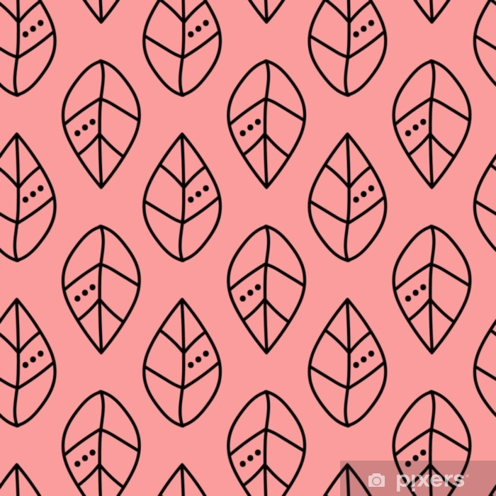 Seamless vector outline leaves pattern on pink backdrop. Design for wallpaper, fabric, textile, wrapping. Simple background Pixerstick Sticker - Graphic Resources