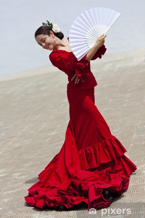 Vinyl Fotobehang Traditionele Vrouw Spaanse Flamenco Dancer in rode jurk met Ventilator - Spanje
