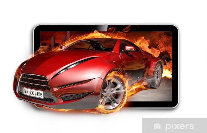 Papier peint vinyle TV 3D. Voiture en flammes sur l'écran du téléviseur. - Vidéo