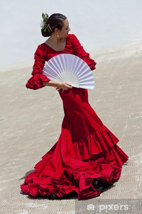 Spanish Flamenco Dancer In Red Dress With Fan Pixerstick Sticker - Themes