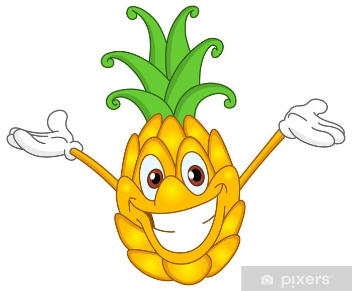 Papier peint vinyle Cartoon ananas - Fruits
