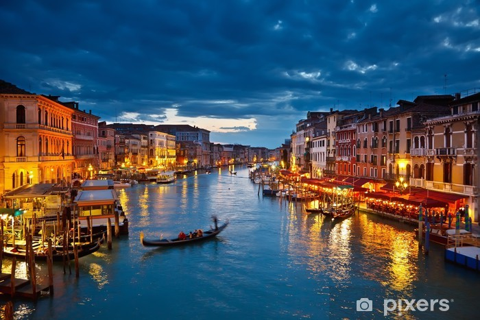 Grand Canal at night, Venice Pixerstick Sticker -