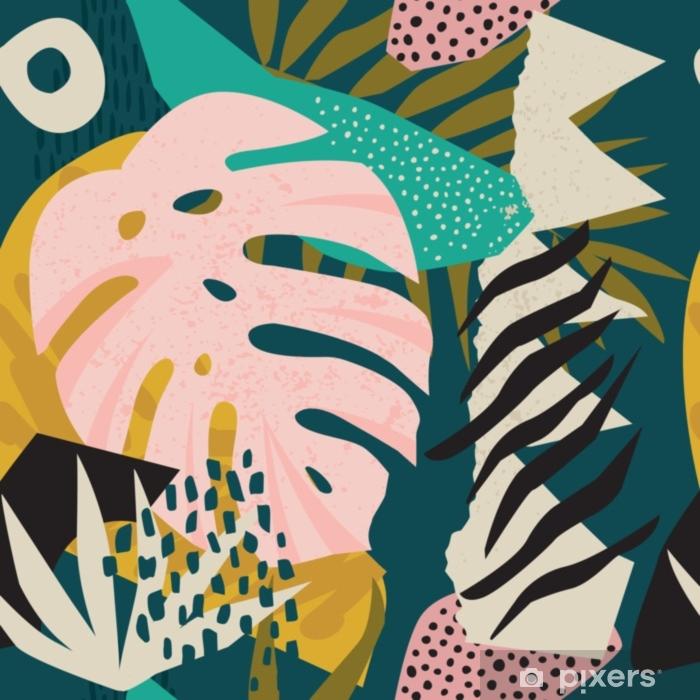 Naklejka Pixerstick Kolaż współczesny kwiatowy hawajski wektor wzór. bezszwowa powierzchnia. - Hobby i rozrywka