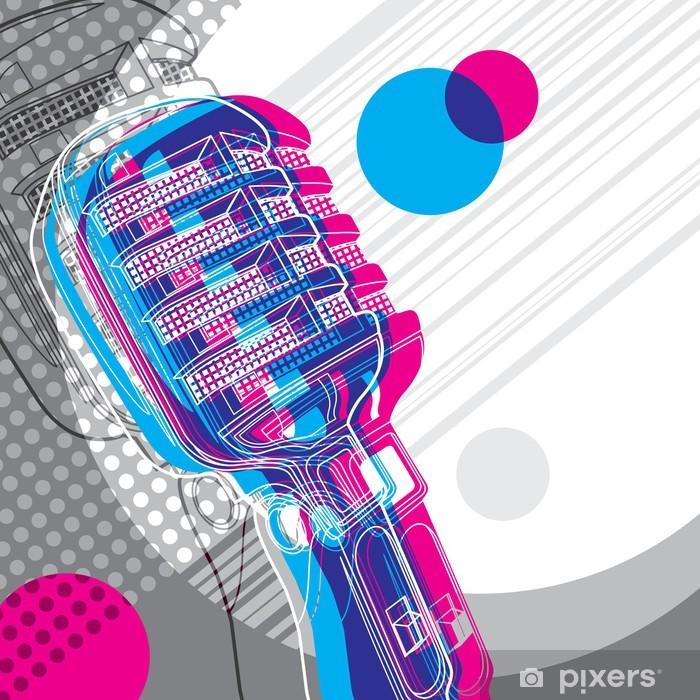 Pixerstick Dekor Designad banderoll med mikrofon och retro grafiska element - Hio hop