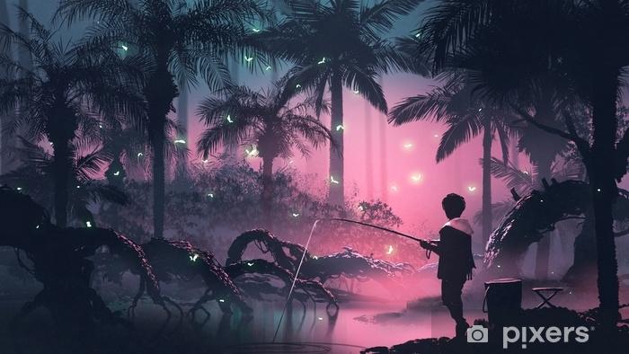 Fototapeta samoprzylepna Chłopiec wędkowanie na bagnach w tropikalnym lesie ze świecącymi motylami, cyfrowy styl sztuki, malowanie ilustracji - Krajobrazy