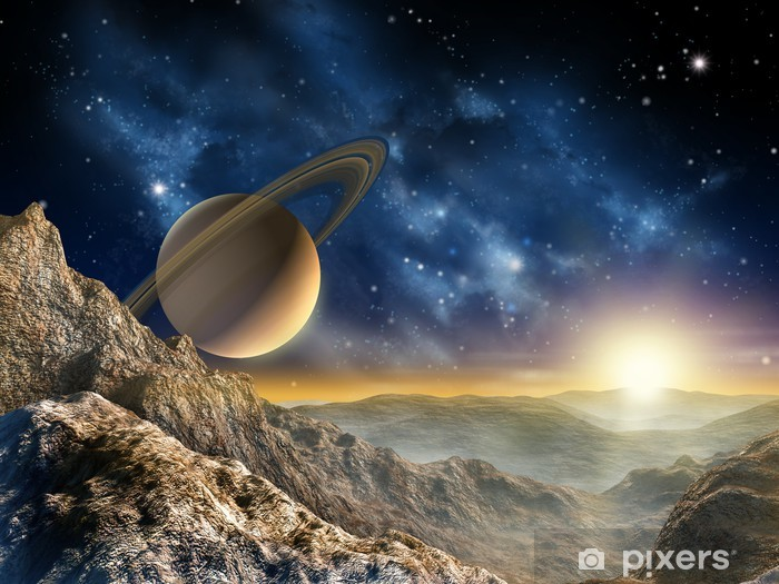 Sticker Pixerstick Saturn moon - Étoiles