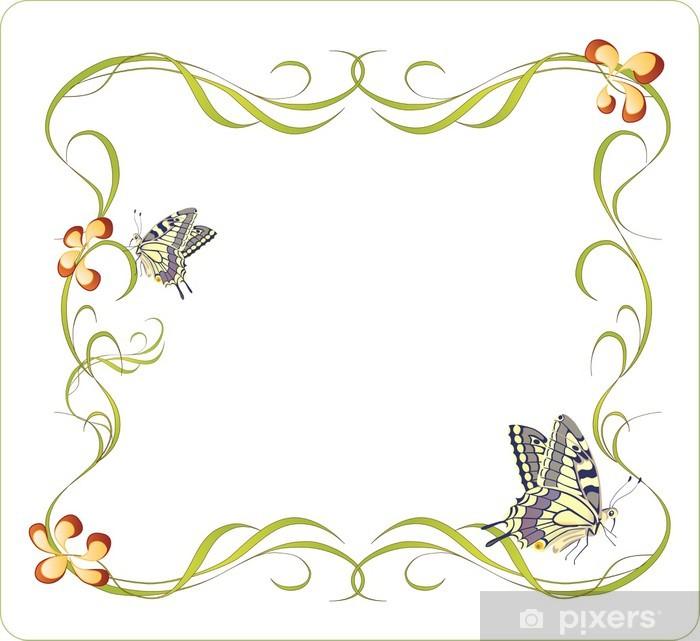 Carta da Parati in Vinile Cornice floreale con le farfalle - Segni e Simboli