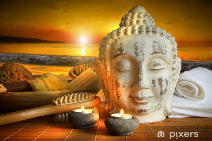 Accessori Da Bagno Adesivi.Adesivo Accessori Da Bagno Con Statua Di Buddha Al Tramonto Pixers