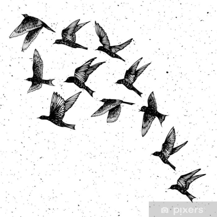 Vinil Para Mesa Lack Conjunto De Pássaros De Traços De Mão Negra Desenhada Rebanho Esboço De Desenho Em Partículas De Mancha De Poeira Texturizada