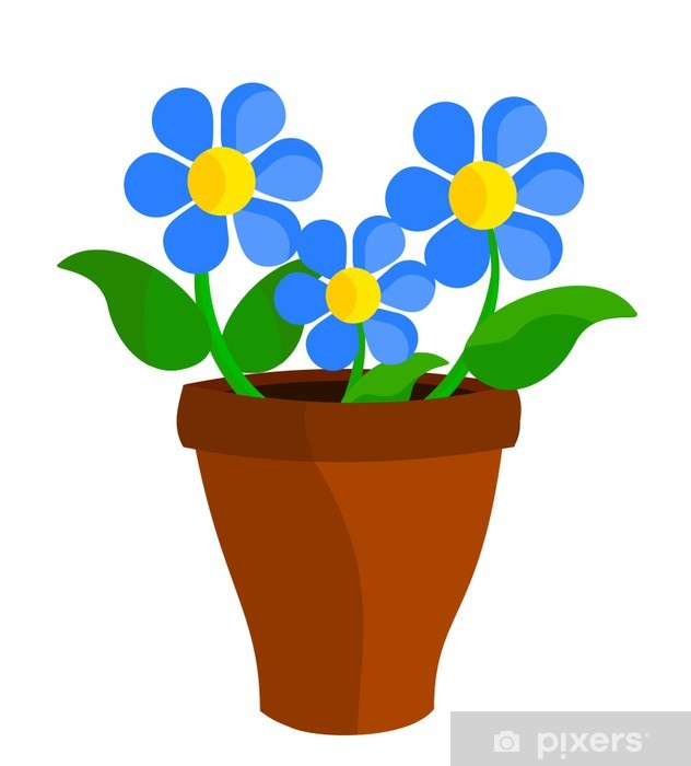 Bloemen In Pot.Fotobehang Vinyl Blauwe Bloemen In Pot
