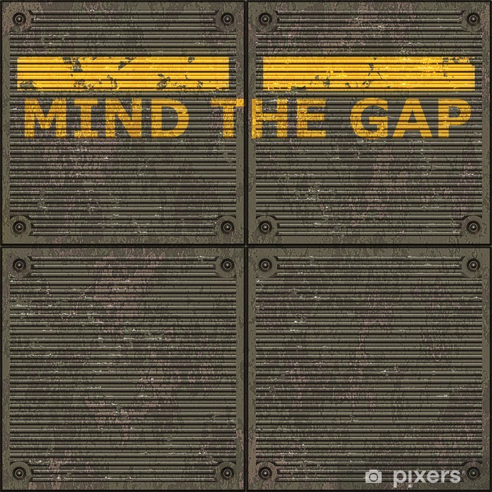 Illustration of the London underground Mind The Gap typical sign Vinyl Wall Mural - Life