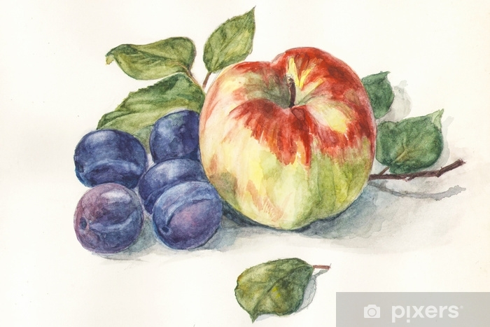 Watercolor Apple Blue Plums On A White Background With Green
