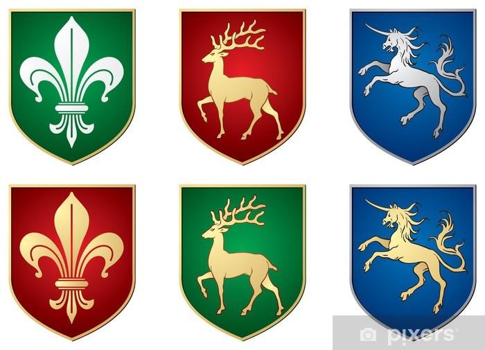 Heraldic Symbols Lily Deer Unicorn Sticker Pixerstick