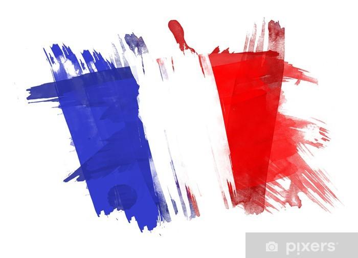 Fransa Bayrağı Beyaz Arka Plan Boyalı çıkartması Pixerstick Pixers