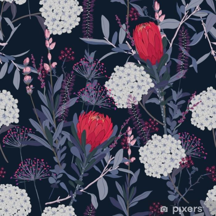 Sticker Pixerstick Motif floral vintage élégant dans les nombreuses sortes de fleurs. motifs botaniques tropicaux dispersés au hasard. empreintes de texture.fashion vectorielle continue. impression avec style dessiné à la main - Ressources graphiques