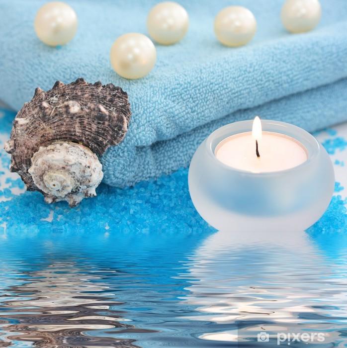 Pixerstick Sticker Blue spa met kaars en zeeschelp - Gezondheid en Geneeskunde