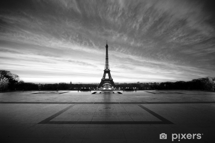 eiffel at dawn - black & white Laptop Sticker -