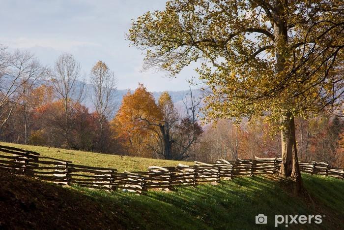 Fototapete Alm Mit Split Schiene Zaun Aus Holz Blatter Im Herbst