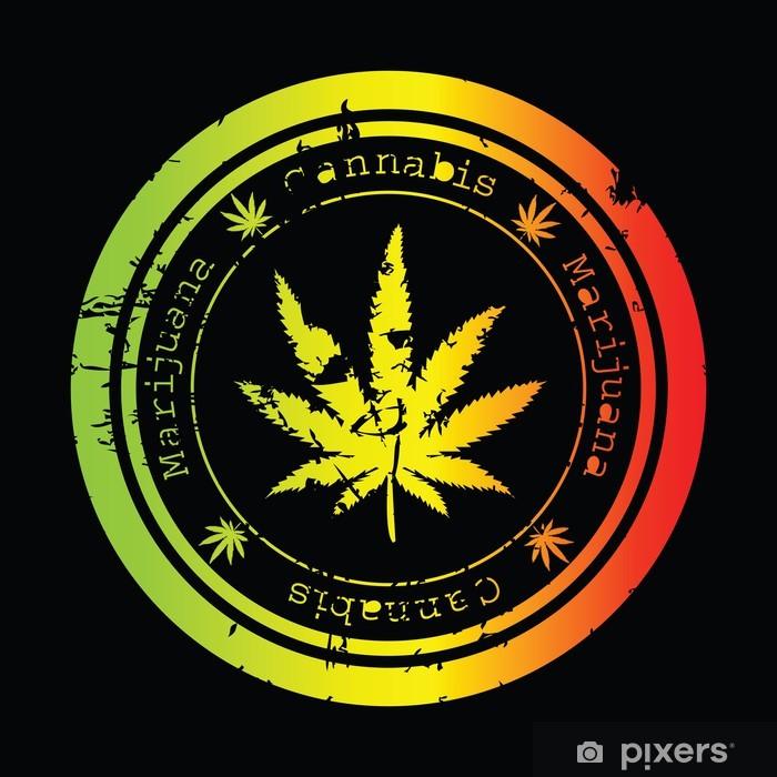 Fototapeta winylowa Grunge znaczek z liściem marihuany - Zdrowie i medycyna