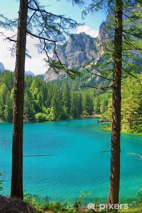 Sticker Pixerstick Montagnes et lac turquoise-Gruener Voir, Styrie, Autriche - Vacances