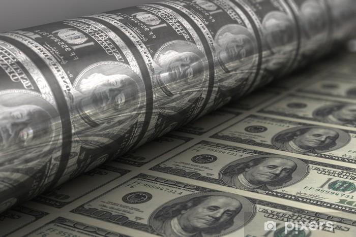 Naklejka Pixerstick Drukowanie banknotów US Dolar - Finanse
