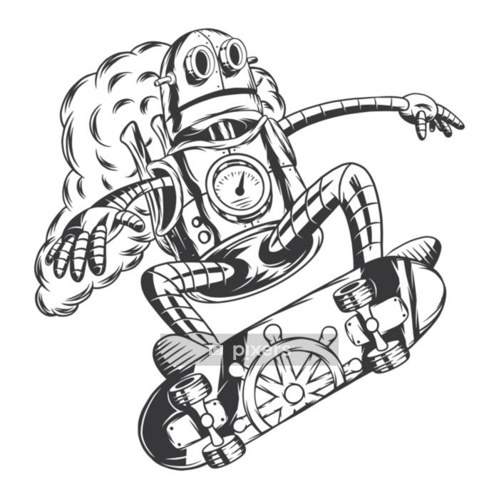 Vinilo para Pared Robot steampunk montado en monopatín. aislado en el fondo blanco. - Hobbies y entretenimiento